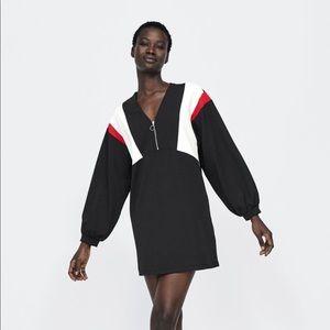 Zara mini dress black zip up